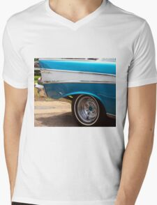 Chevrolet Blue and White Classic Bel Air Muscle Car Mens V-Neck T-Shirt