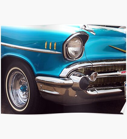 Chevrolet Bel Air Muscle Cart in Blue and Gold Poster