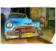 Blue Chevy early morning, Havana, Cuba Poster