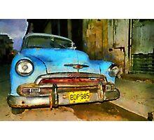 Blue Chevy early morning, Havana, Cuba Photographic Print