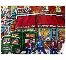 RUE ST.VIATEUR BUTCHER SHOP VINTAGE MONTREAL STREET SCENE Poster