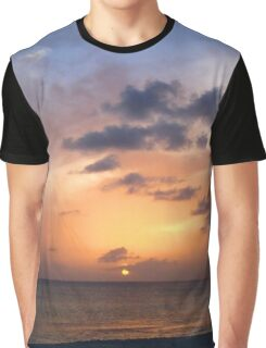 Tiki Beach Caribbean Island Sunset in Fire Orange and Purple Glowing Color Graphic T-Shirt