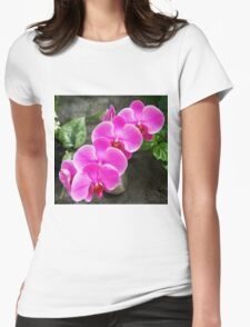 Fuchsia Pink Tropical Orchid Flowers near Waterfall Womens Fitted T-Shirt