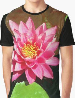 Fuchsia Pink Water Lilly Flower floating in Pond Graphic T-Shirt