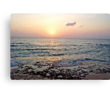 Caribbean Sunset over Seven Mile Beach in Grand Cayman Canvas Print