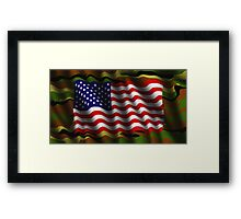Camouflage American flag background Framed Print
