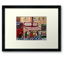 MONTREAL WINTER CITY STREET PAINTING SNOWING AT SCHWARTZ'S DELI Framed Print