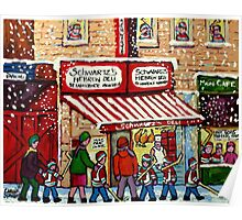 MONTREAL WINTER CITY STREET PAINTING SNOWING AT SCHWARTZ'S DELI Poster