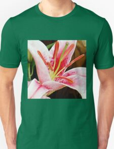 Macro Pink and White Lilly Flower in the Garden Unisex T-Shirt