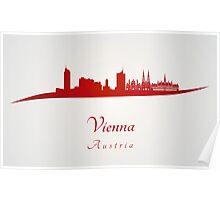 Vienna skyline in red Poster