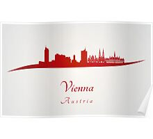 Vienna skyline in red Poster