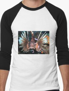 Caribbean Lion Fish guarding the Coral Reef Men's Baseball ¾ T-Shirt