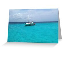 Sailing Serenity in the Azure Waters of the Caribbean Greeting Card