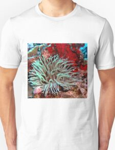 Giant Green Sea Anemone feeding near Red Coral Reef Wall Unisex T-Shirt