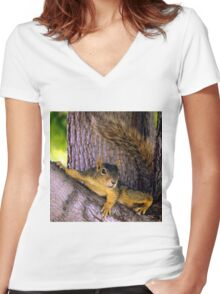 Animal - Squirrel watching from the Tree Women's Fitted V-Neck T-Shirt