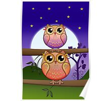 Cute Full Moon Owls in a Starry Night Poster