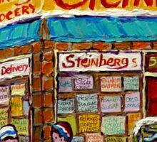 MONTREAL MEMORIES STEINBERG'S GROCERY STORE VINTAGE MONTREAL HOCKEY STREET SCENE Sticker