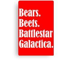 Bears Beets Battlestar Galactica Funny funny nerd geek geeky Canvas Print