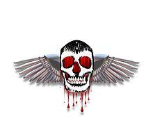 Flying bleeding skull with chromed wings illustration Photographic Print