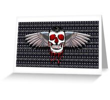 Skull with chromed wings on leather Greeting Card
