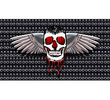Skull with chromed wings on leather Photographic Print