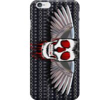 Skull with chromed wings on leather iPhone Case/Skin