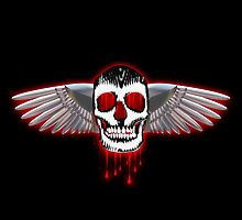 Bloody skull with chromed wings illustration by creativedesignz