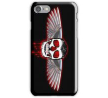 Bloody skull with chromed wings illustration iPhone Case/Skin