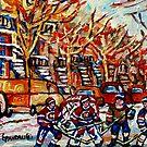 VERDUN WINTER CITY SCENE HOCKEY GAME NEAR WINDING STAIRCASES by Carole  Spandau