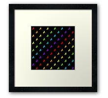 Rainbow unicorn pattern on black background Framed Print