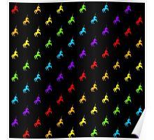 Rainbow unicorn pattern on black background Poster