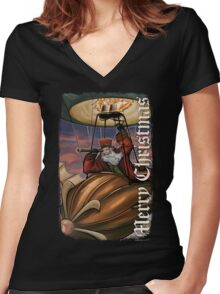 Steampunk Santa Claus Women's Fitted V-Neck T-Shirt
