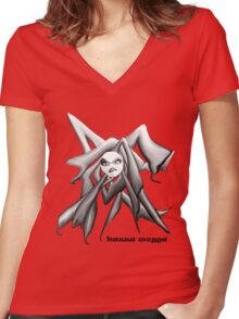 angry black and white Women's Fitted V-Neck T-Shirt