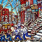 HOCKEY ART CALGARY FLAMES PLAY AGAINST TORONTO MAPLE LEAFS by Carole  Spandau