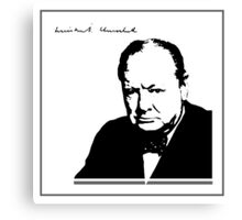 Silhouette portrait Winston Churchill Canvas Print