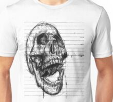 Skull on notebooke paper Unisex T-Shirt