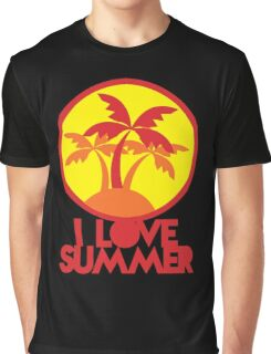 I LOVE SUMMER with island and circle palm trees Graphic T-Shirt