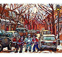 STREET HOCKEY ART MONTREAL WINTER CITY SCENE PAINTING POINTE ST. CHARLES Photographic Print