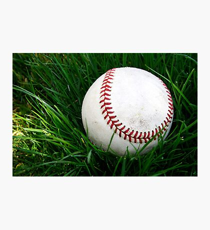 Baseball in the grass Photographic Print