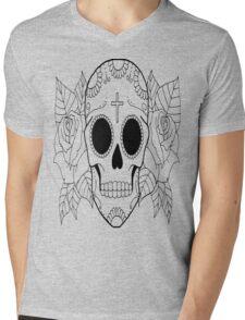 Fashion Skull with cross Mens V-Neck T-Shirt
