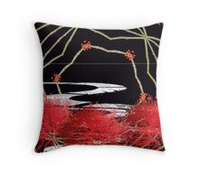 Fluffy red flowers and path. Throw Pillow