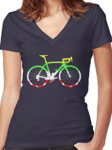 Bike Tour de France Jerseys (Horizontal) (Big)  Women's Fitted V-Neck T-Shirt