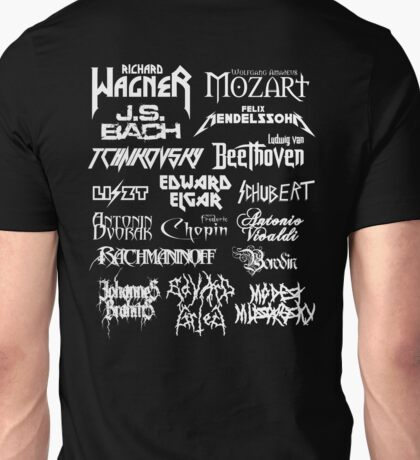 Heavy Metal-style Classical Composers Unisex T-Shirt