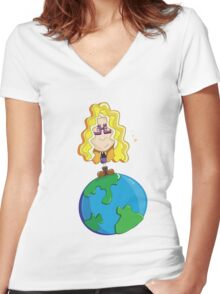 On top of the world Women's Fitted V-Neck T-Shirt