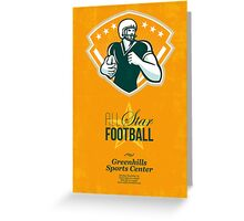 American All Star Football Retro Poster Greeting Card