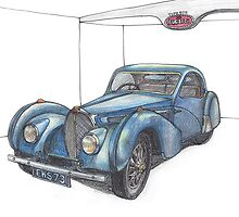 1937 Bugatti Type57S Atalante(sideview) in Color Pencil by Timeless Forever