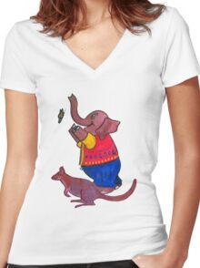 Elephant and Butterfly and Wallaby Women's Fitted V-Neck T-Shirt