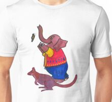 Elephant and Butterfly and Wallaby Unisex T-Shirt