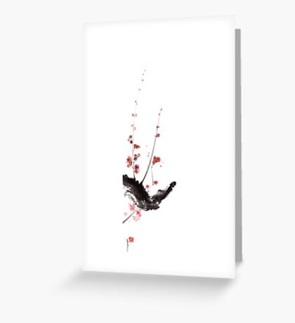 Sakura cherry blossom orange pink red flowers tree watercolor original ink painting Greeting Card