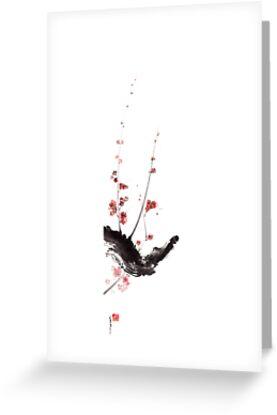 Sakura cherry blossom orange pink red flowers tree watercolor original ink painting by Mariusz Szmerdt